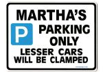MARTHA'S Personalised Parking Sign Gift | Unique Car Present for Her |  Size Large - Metal faced
